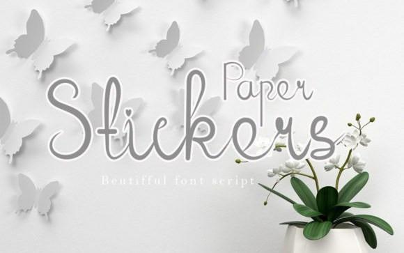 Paper Stickers Handwritten Font
