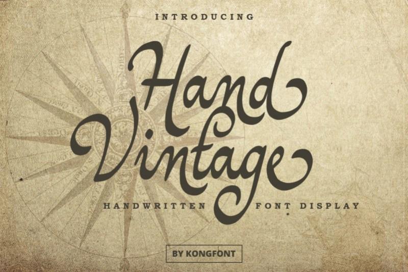 Hand Vintage Script Font