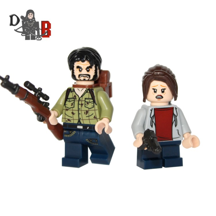 """These custom designed Minifigure's are based upon Joel and Ellie from the popular Last of us video game. Made using genuine LEGO parts except for the rifle and handgun which are professionally custom made. Joel's chest has been designed by me and machine printed onto the torso. Each Minifigure is carefully packaged into a re-sealable bag and shipped in a bubble lined envelope for extra protection. """"LEGO® is a trademark of the LEGO Group of companies. The LEGO Group does not sponsor, authorise or endorse the modified/customised product(s) shown nor does it accept responsibility in any way, shape or form for any unforeseen and/pr adverse consequences following from such customisation/modification."""""""
