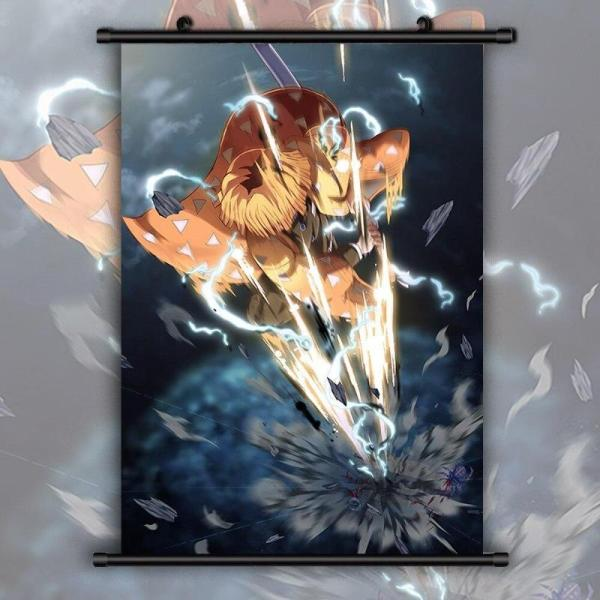 Zenitsu Sixfold Wall Scroll - Demon Slayer Merch