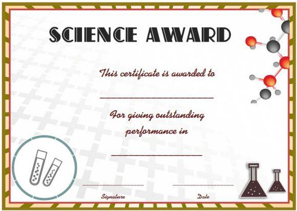 Science Fair Certificates 14 Printable Full Color