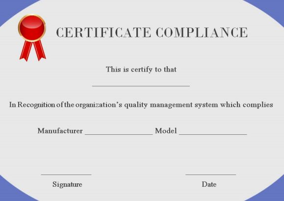 16 Downloadable And Printable Certificate Of Compliance