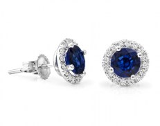 Blue sapphire diamond halo stud earrings