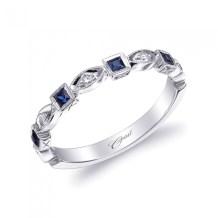 Blue sapphire and diamond geometric stack ring