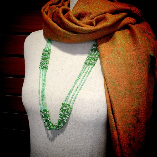 Green Beaded Multi-Strand Necklace $19