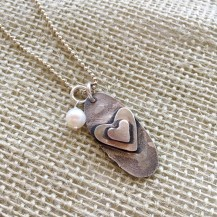 """Sterling and freshwater pearl """"I Love You"""" pendant $70"""