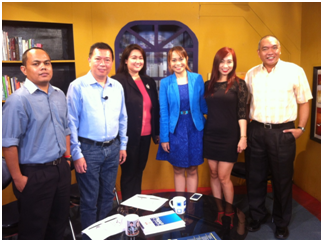 The People Management Association of the Philippine (PMAP) recently promoted over cable TV channel GNN the nationwide event called National Wellness Day to be participated by various companies in the country happening on June 20, 2014. During the recent episode of The Workplace with Marybeth Nave (3rd from right), the group presented a 7-Minute PMAP Wellness Moment, a quick wellness activity that involves stretching and meditation to be done simultaneously across the nation by employees at exactly 3:00 pm on June 20. In the photo (from left) PMAP Communications Specialist Richard H. Mamuyac; Trustee for PR and Publicity Committee Jesse Francis N. Rebustillo, Trustee for Fellowship and Wellness Michelle G. Guce; Chair for Fellowship and Wellness Committee Carmie De Leon and Healthway Medical Marketing Manager Joven A. Alcala.