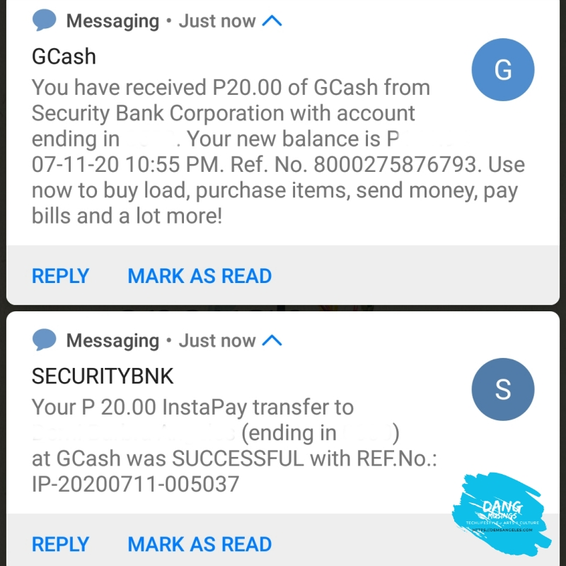 GCash cash in via Security Bank free