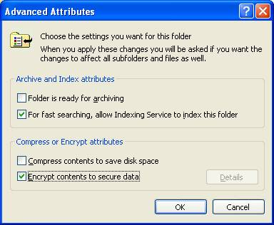 Advanced Attributes dialog box