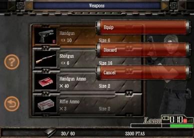 Resident evil 4 - iPad edition: inventory