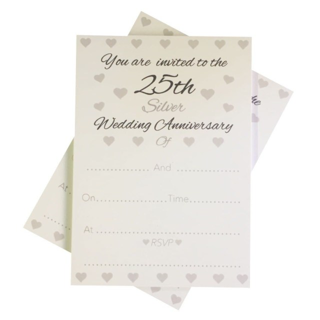 25Th Wedding Anniversary Invitations 25th Silver Wedding Anniversary Invitations Envelopes 1 Pack Of 10