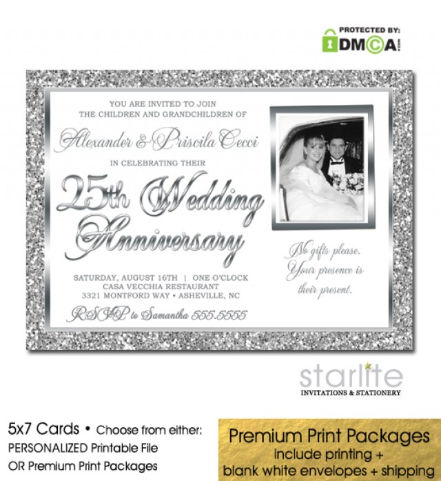 25Th Wedding Anniversary Invitations 25th Wedding Anniversary Invitation Photo Silver Glitter Starlite