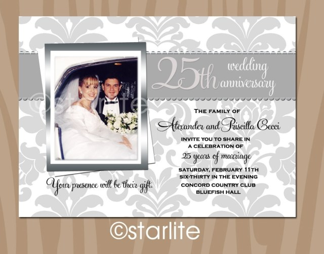 25Th Wedding Anniversary Invitations Cute Silver Wedding Anniversary Invitation Cards 52 For Your Picture