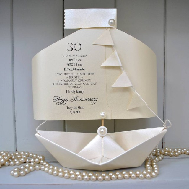 30Th Wedding Anniversary Decorations 30th Pearl Wedding Anniversary Paper Boat Card The Little