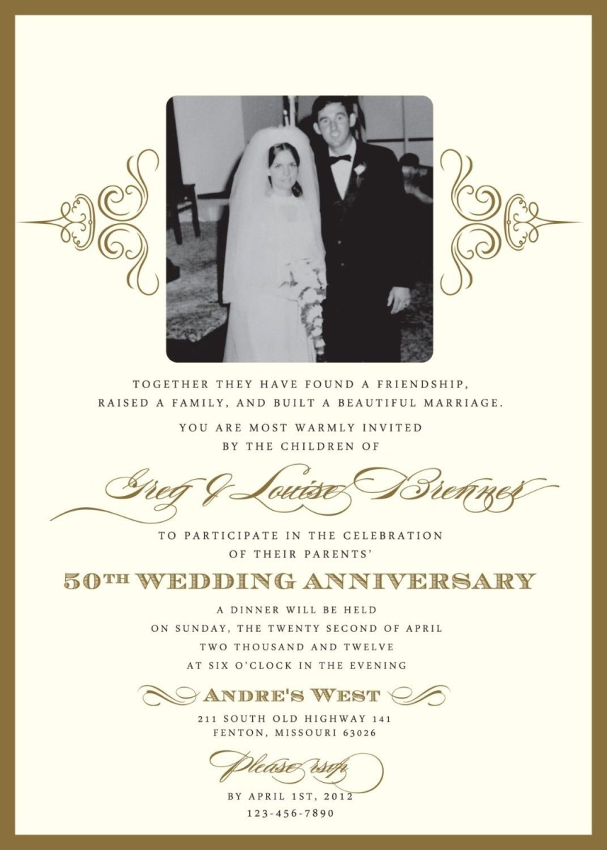 30+ Beautiful Picture of 50Th Wedding Anniversary Invitation Wording