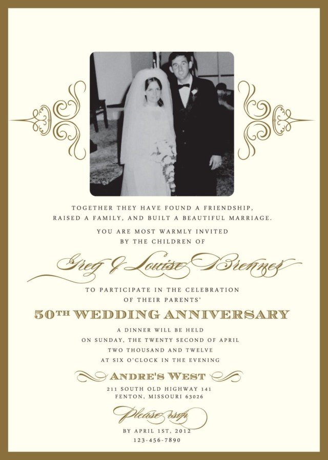 50Th Wedding Anniversary Invitation Wording Wedding Anniversary Invitations What You Should Do To Find Out