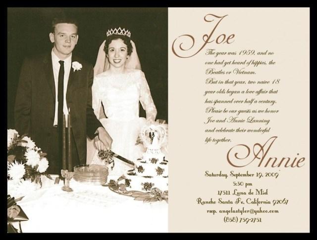 50Th Wedding Anniversary Invitation Wording Wedding Invitations Loloxlola Diamond Wedding In 2019 Pinterest