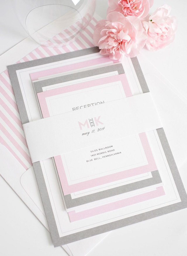 Amazing Wedding Invitations Gorgeous Wedding Invitations With Pink And Gray Borders