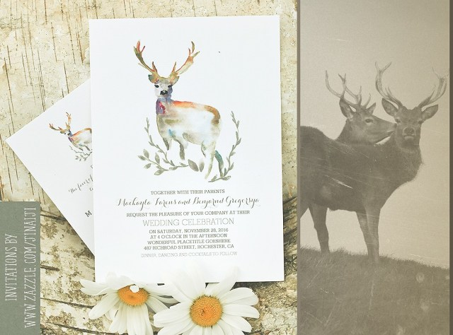 Antler Wedding Invitations Deer Wedding Invitation Romantic Watercolors Need Wedding Idea