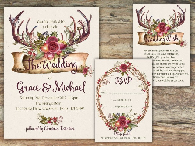 Antler Wedding Invitations Personalised Rustic Mulberry Floral Fruit Antler Wedding