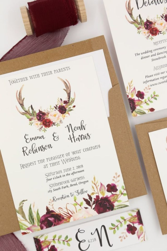 Antler Wedding Invitations Rustic Antler Wedding Invitations Perfect For A Woodland Or Mountain
