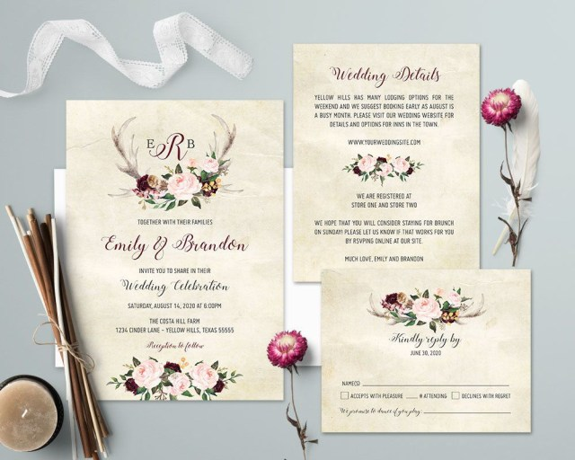 Antler Wedding Invitations Rustic Wedding Invitation Printable Floral Antler Wedding Invitation
