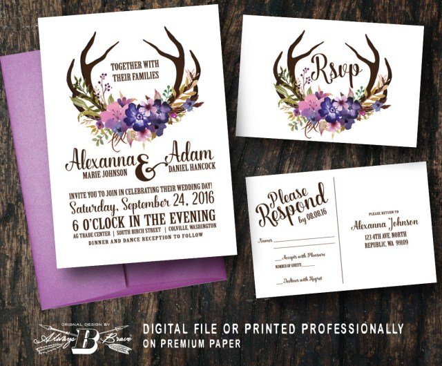 Antler Wedding Invitations Rustic Wedding Invitation Rsvp Printed Or Digital File Etsy