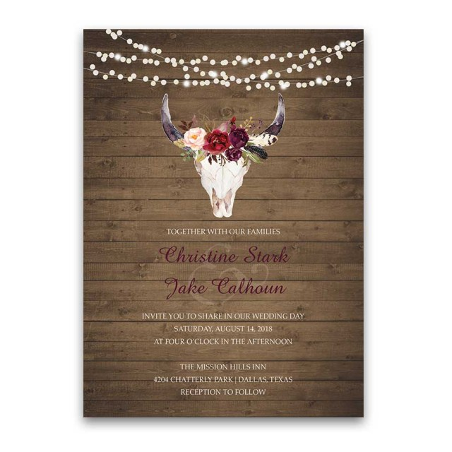Antler Wedding Invitations Wedding Invitations Floral Deer Skull Antler Burgundy Blush Floral