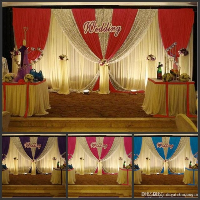 Backdrop Decoration For Wedding 3m6m White Color Ice Silk Wedding Backdrop Curtain With Swag Silver