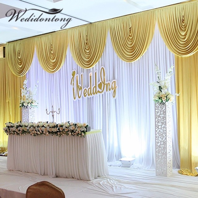 Backdrop Decoration For Wedding New Arrival 6mx3m Ice Silk White Wedding Party Backdrop Curtain With