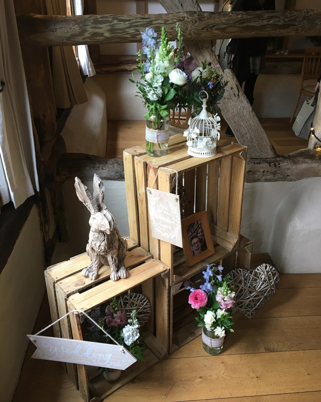Barn Wedding Decor Wooden Crates Were Used To Display Wedding Decorations At This
