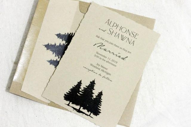Barn Wedding Invitations Rustic Wedding Invitations Recycled Wedding Invitation Set Simple