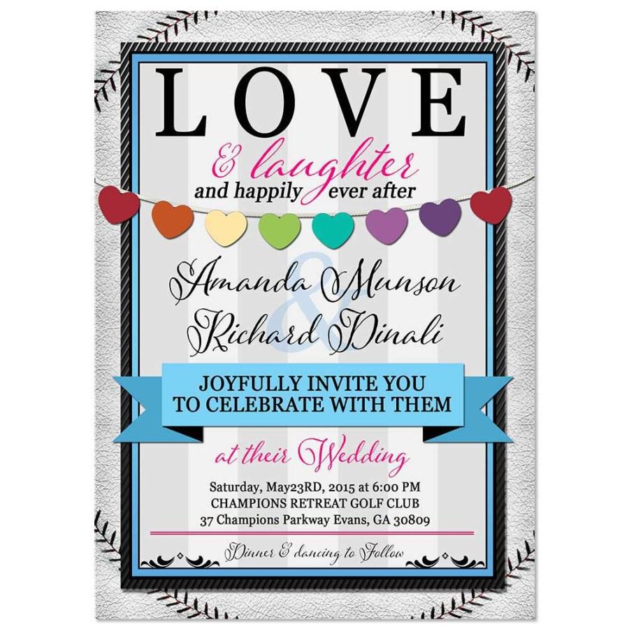 Baseball Wedding Invitations Baseball Hearts Flat Rsvp Response Card With Matching Invitations