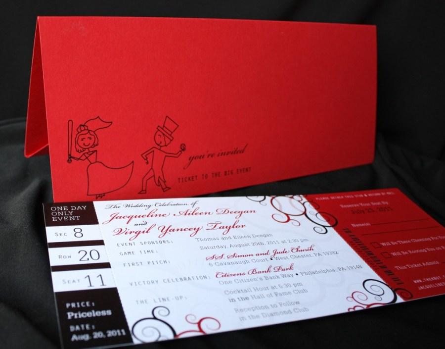 Baseball Wedding Invitations Red And Black Baseball Ticket Wedding Invitations Emdotzee Designs