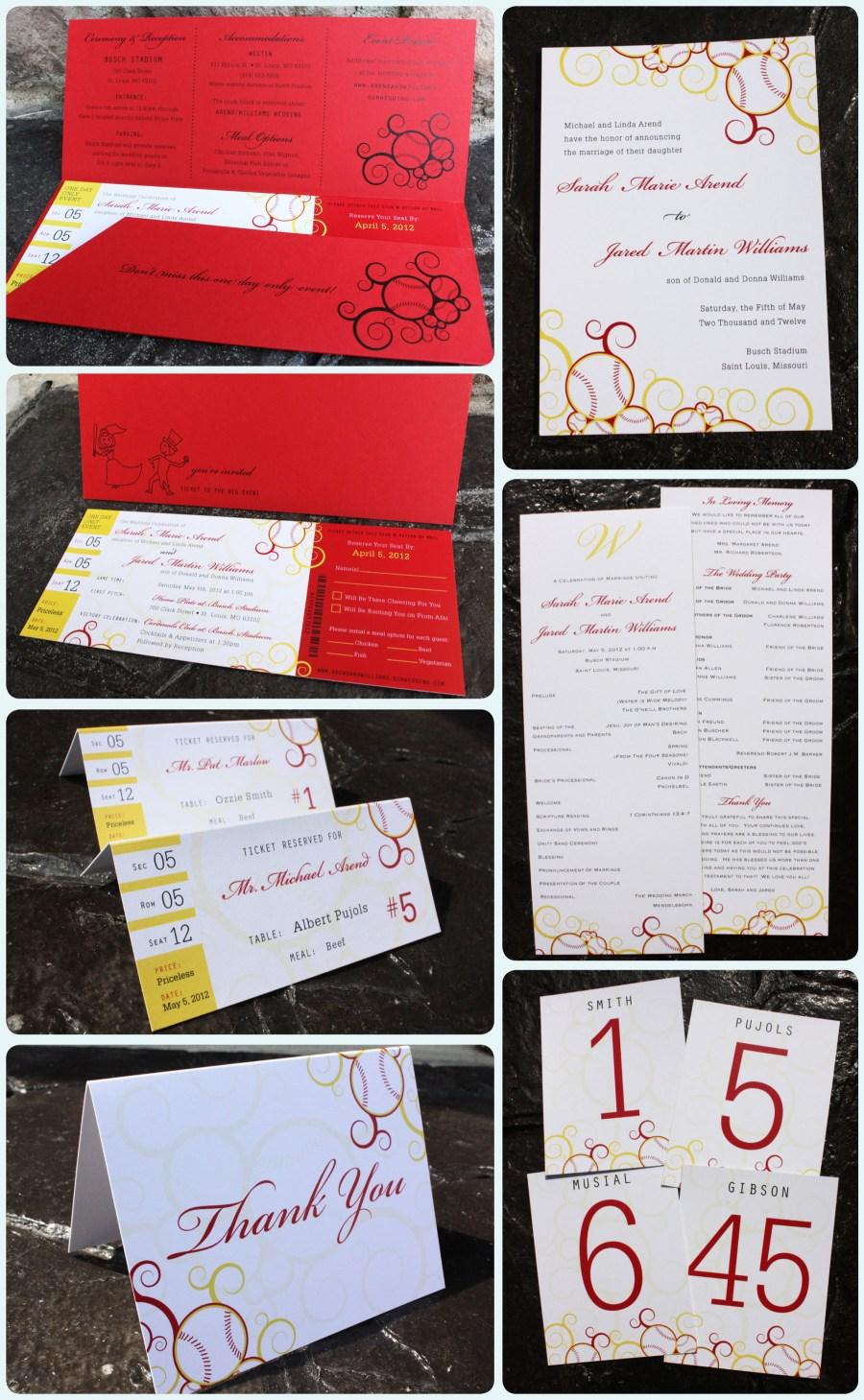 Baseball Wedding Invitations Red Yellow Swirl Baseball Ticket Wedding Invitations Emdotzee