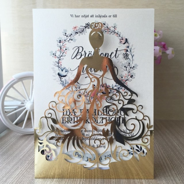 Beautiful Wedding Invitations 12pcslot Laser Cut Beautiful Dress Girl Design Birthday Party