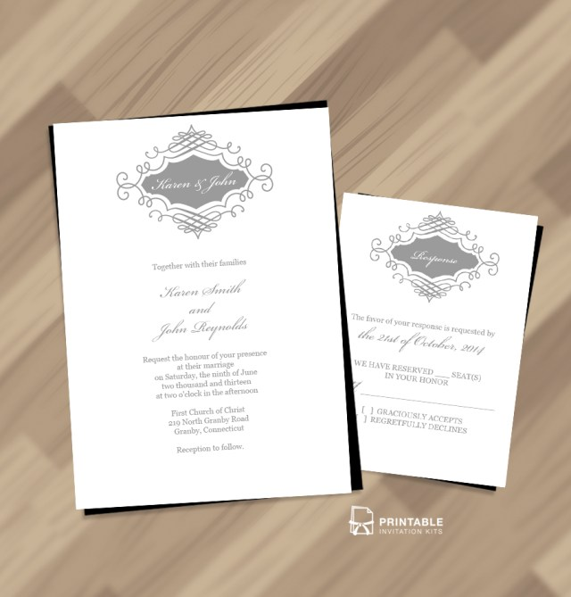 Beautiful Wedding Invitations Beautiful Wedding Monogram Free Invitation And Rsvp Wedding