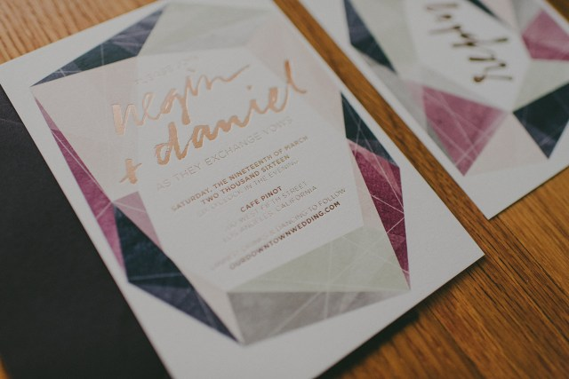 Beautiful Wedding Invitations Modern Gemstone Copper Foil Wedding Invitations