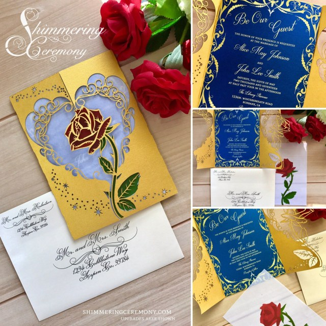 4ce7ddeadff Beauty And The Beast Wedding Invitations Beauty And The Beast Inspired Wedding  Invitation Laser Rose And