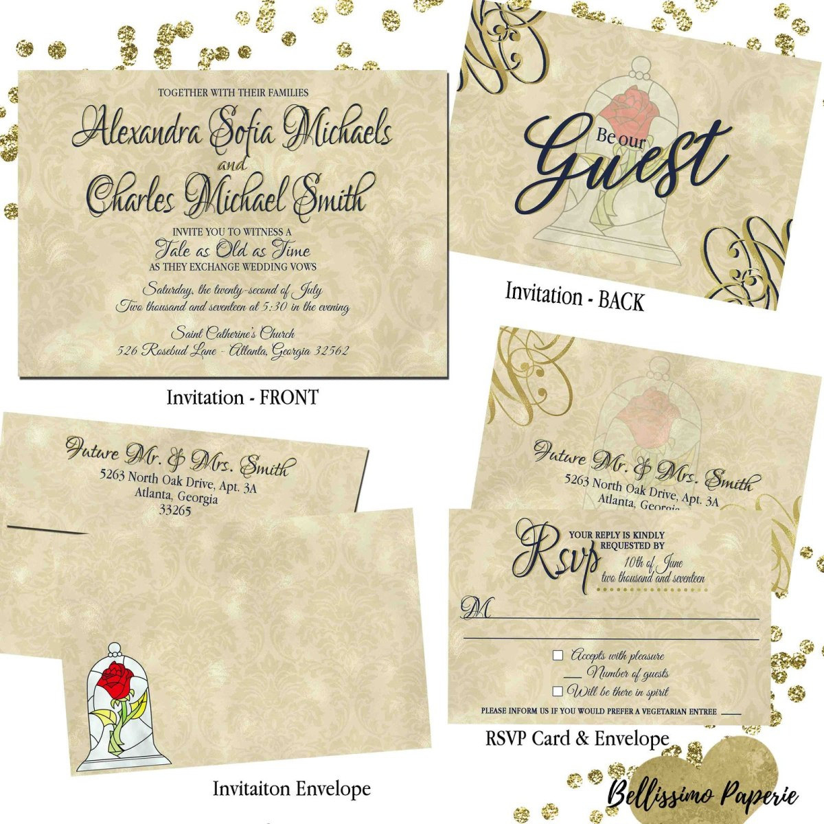 Beauty And The Beast Wedding Invitations Beauty And The Beast Wedding Invitation Set And 50 Similar Items