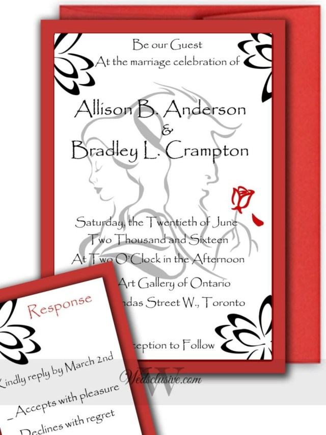 Beauty And The Beast Wedding Invitations Beauty And The Beast Wedding Invitations Romantic Disney Weddings