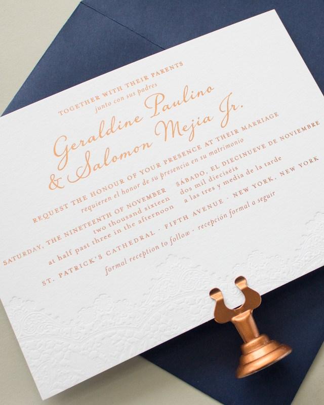 Bilingual Wedding Invitations Bilingual Copper Foil And Blind Letterpress Wedding Invitations