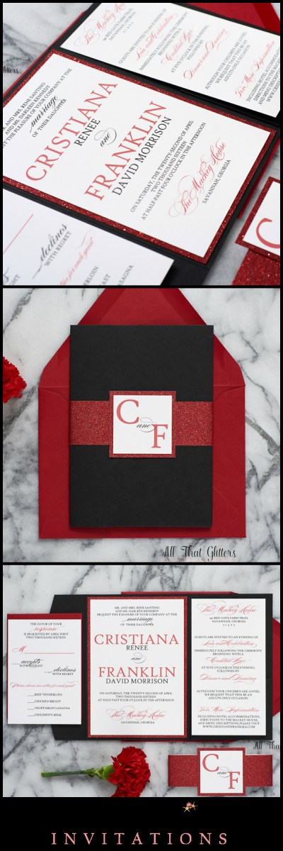 Black And Red Wedding Invitations Cristiana In 2018 Navy Wedding Inspiration And Ideas Pinterest