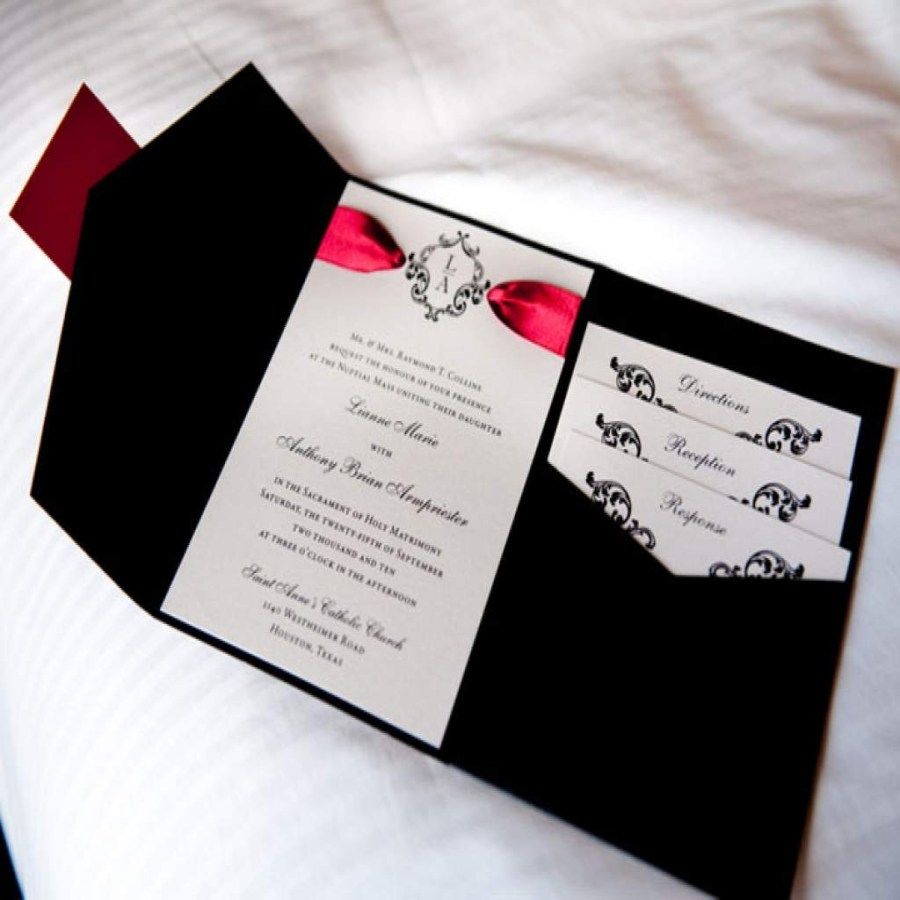 Black And Red Wedding Invitations Red Black And White Wedding Invitations Sansalvaje Throughout The