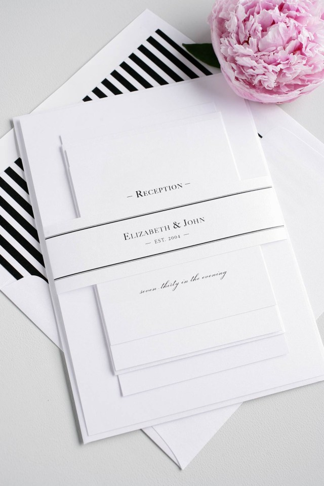Black And White Striped Wedding Invitations Black White Striped Monogram Wedding Invitations Wedding Invitations
