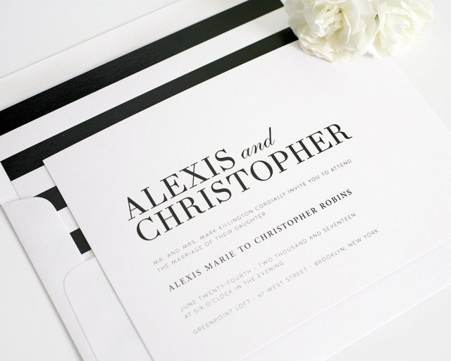 Black And White Striped Wedding Invitations Glamorous Black And White Wedding Invitations Wedding Invitations