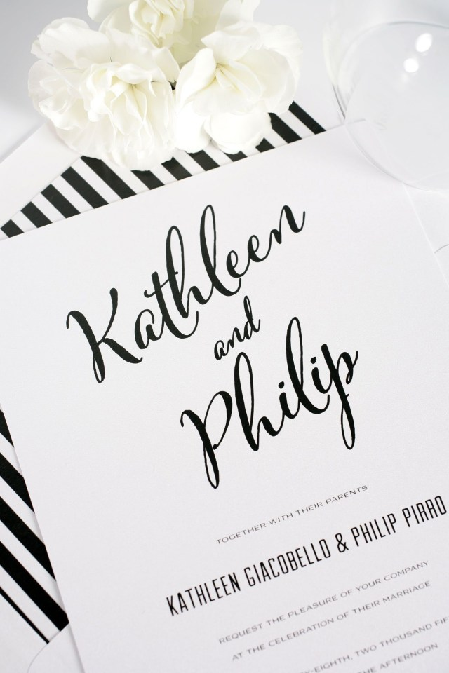 Black And White Striped Wedding Invitations Modern Calligraphy Wedding Invitations In Black And White Wedding