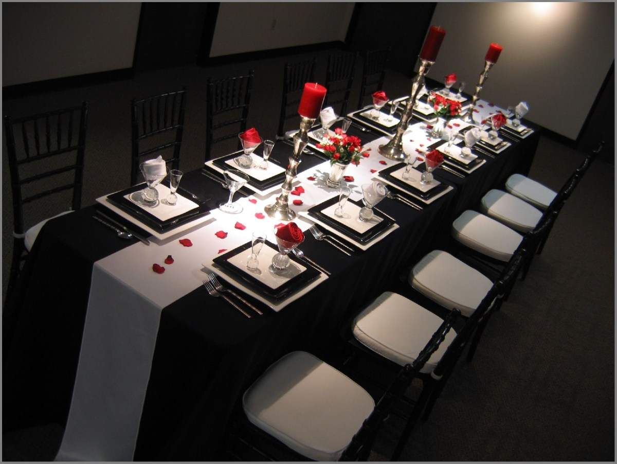 Black And White Wedding Decor Modern Silver Wedding Anniversary Decorating Ideas Red Black And