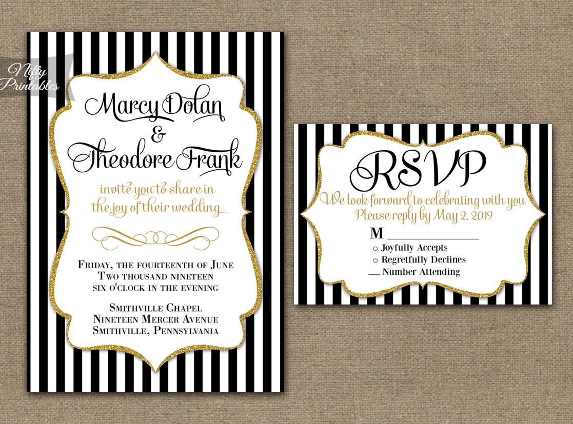 Black And White Wedding Invitations Black White Striped Gold Wedding Invitations Nifty Printables