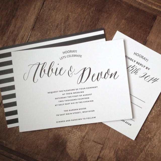 Black And White Wedding Invitations Classic Black And White Wedding Invitation Suite Set Of 25